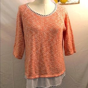 Style & Co. Peach Embellished Sweater